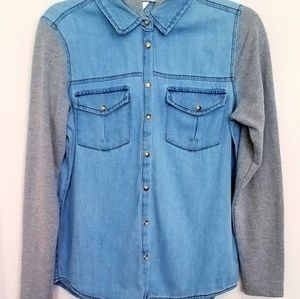 Highway Jeans Hooded Mixed Media Junior Top